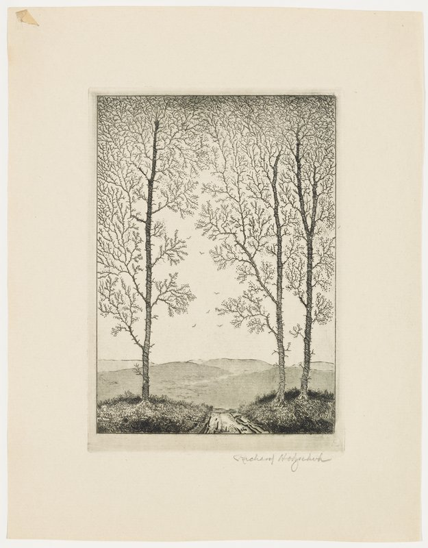 three trees with tiny buds in foreground, flanking a path--two on right, one on left; low barren hills in background; low horizon line; a few flying birds in distance