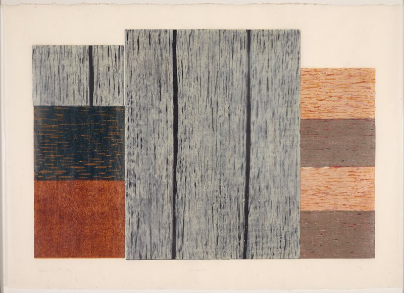 abstract image made of rectangular shapes with woodgrain-like appearance; three grey vertical rectangles at center; four alternating grey and light brown horizontal rectangles at right; two vertical grey rectangles atop two horizontal rectangles of medium brown and black at left