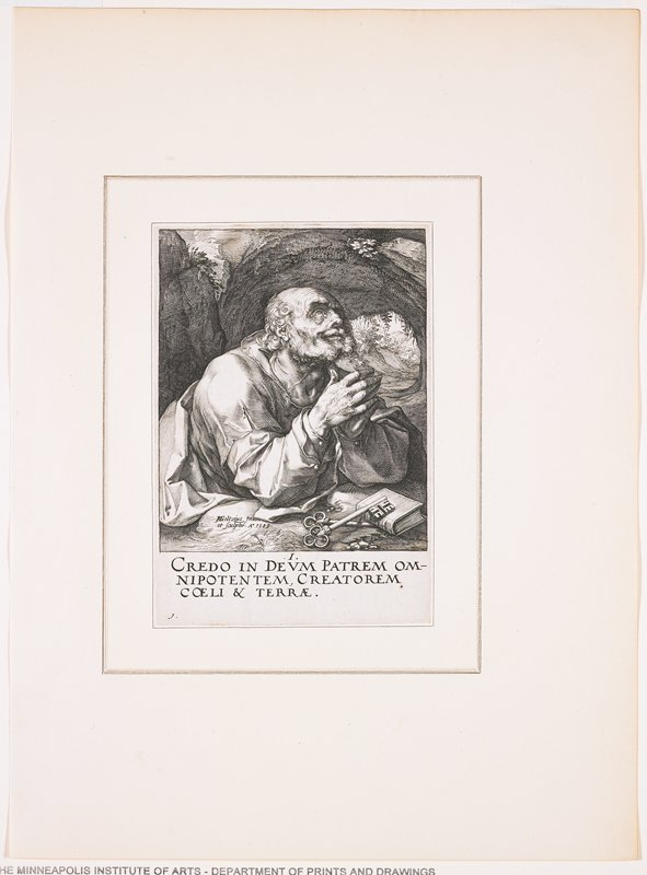 """balding, bearded old man in prayer; pair of keys and a small book before man; landscape behind, with round opening in rugged landscape over man's PL shoulder; text at bottom: """"I. / CREDO IN DEUM PATREM OM- / NIPOTENTUM, CREATOREM / COELI & TERRAE."""""""