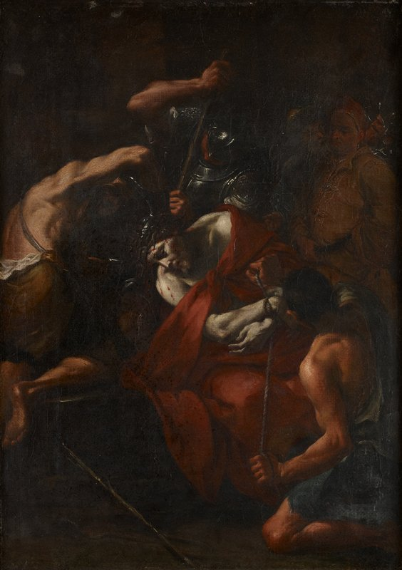Christ at center in red robes wearing crown of thorns; figure kneeling in LRC wearing blue binds Christ's wrists with rope; soldier behind Christ with unidentified tool; another figure at right wearing brown; three figures in shadows, ULC; dark image