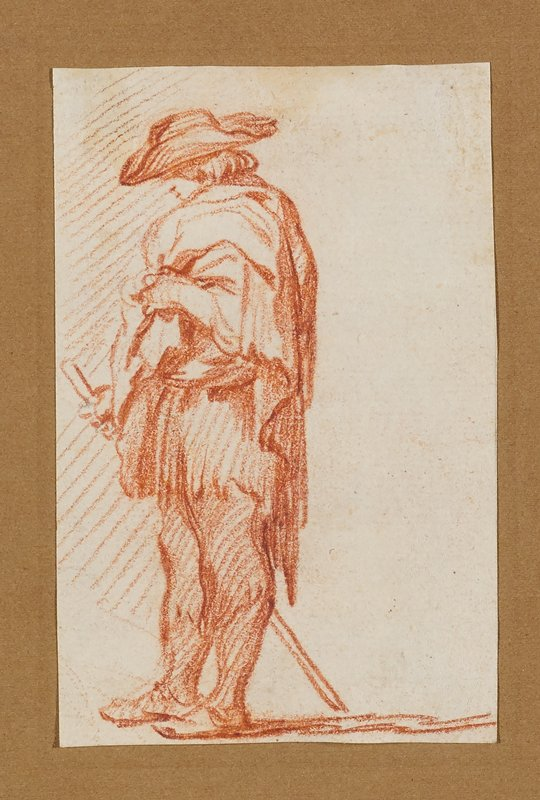 standing man looking down; man wears a hat and short cloak or blanket around his upper body and holds a short walking stick; blank negative space behind man at right side of sheet