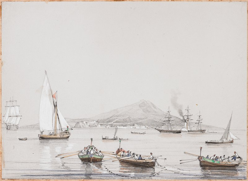 three large rowboats in foreground, filled with people; two small sailboats in middle ground; large sailing ship at left in distance with other ships at right without sails unfurled; Mount Vesuvius in background; grey sky and water