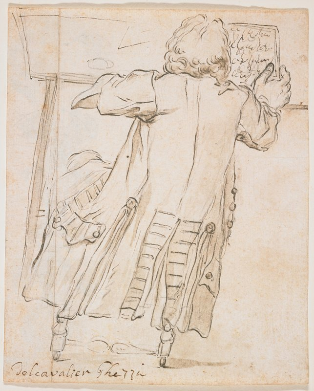recto: man seen from back, wearing a coat with large pockets and stitching on slit at back; man holds papers with text in PR hand; legs of stool visible beneath coat hem; verso: fantastic columnar architectural element with cartouche, swags and foliate scrolls, face and animal legs