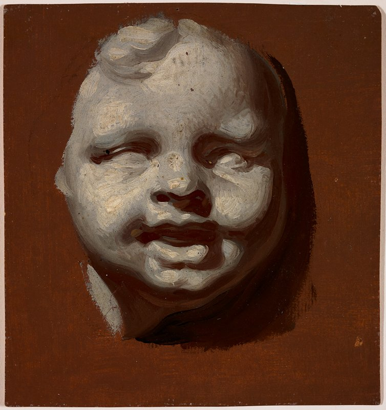 image of face of putto in grey; rust-colored ground