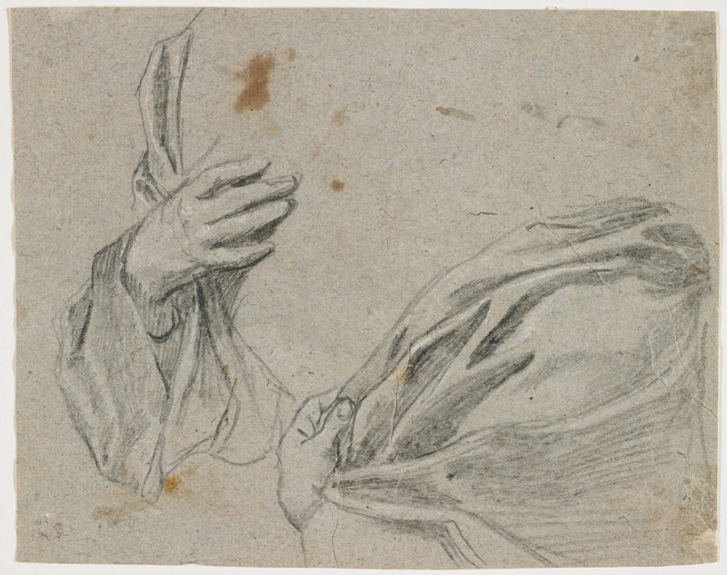 recto: two sketches--at left, PR hand and drapery sleeve; at right, PL hand holding drapery in folds on shoulder and PL arm; verso: midsection of seated figure with PL hand resting on chair arm