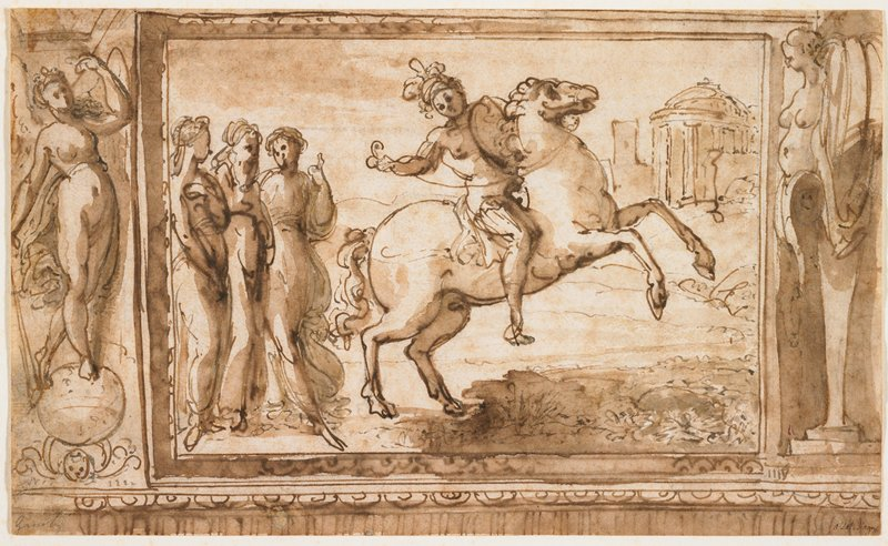 central rectangular image of man wearing helmet and carrying shield, riding a rearing horse; three female figures at left; round building in URC; nude female figure standing on an orb at left; female caryatid at right; decorative frieze below