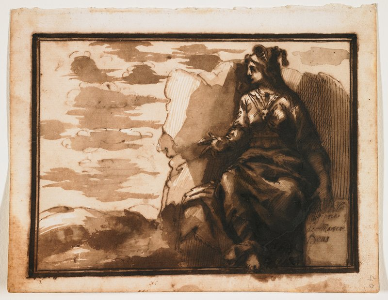 woman seated at right on rocks looking left; wears dress and elaborate headdress; gestures with right hand, landscape at left with low horizon line