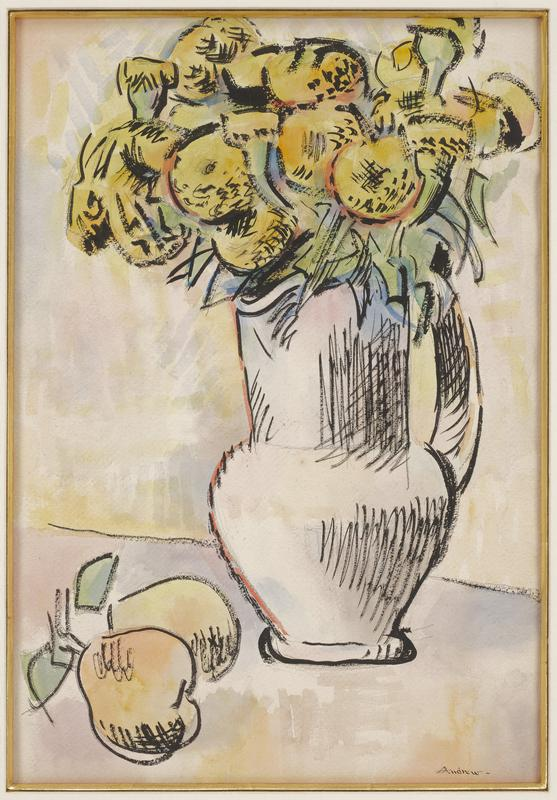 white pitcher filled with bouquet of yellow flowers; two yellow pears with leaves, LLC