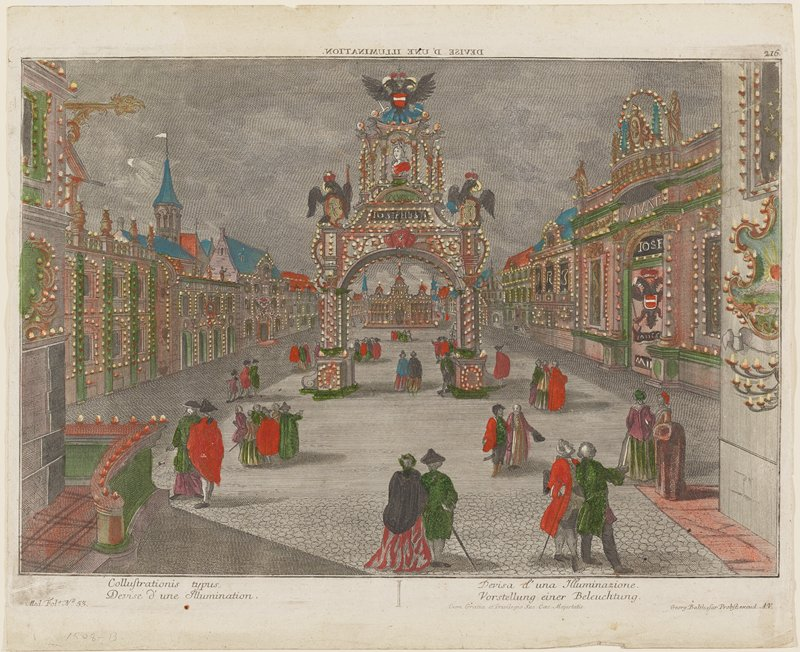 """image of men and women on a city street with buildings on either side of walkway and large central archway surmouted with bust and eagles decorated with lights; bright hand coloring in red, green, purple, blue and orange; text at bottom and top, including, """"Devise d'une Illumination."""""""