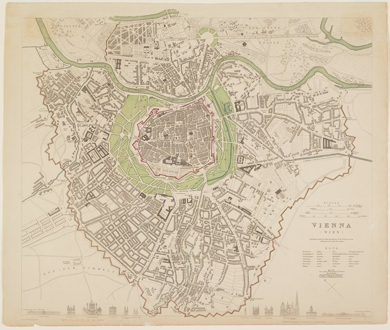 map of Vienna, colored with green, pale orange and red; view of 12 buildings at bottom edge
