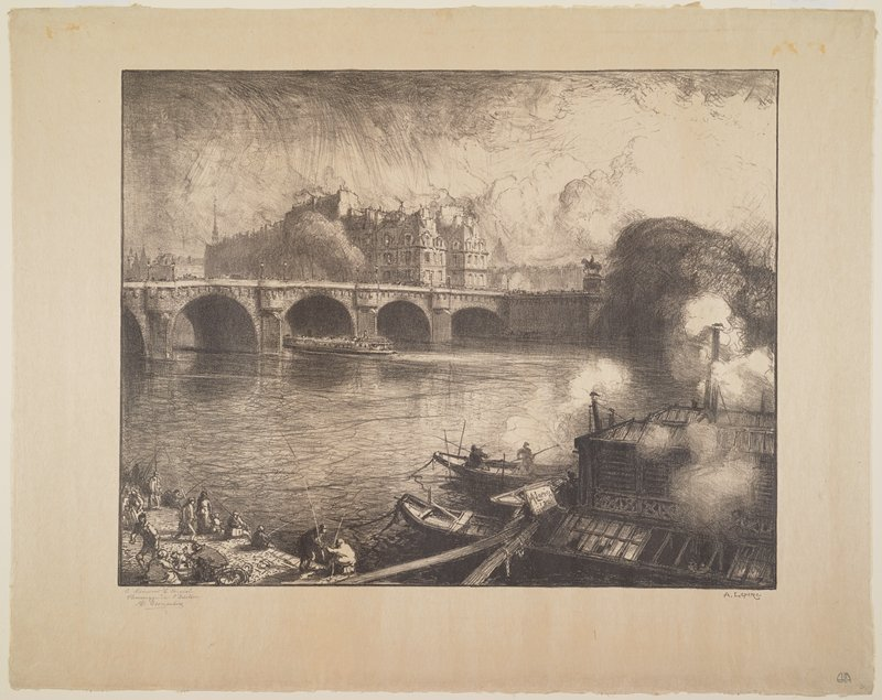 bridge with arches at center; boats at right; clouds of smoke, URC; people fishing, LLC; large boat passing under bridge left of center; buildings at center top