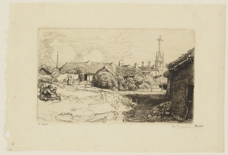 woman with baby seated on ground, LLQ; figure hanging laundry on clothesline at left center; thatch-roofed cottages and foliage at center and right; cross on church spire, URC