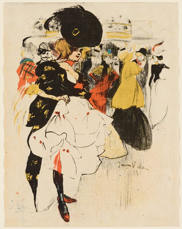 woman wearing a black and orange dress and a large black hat, with red hair, holding up her skirts, exposing her white and orange underskirts; other figures wearing bright clothing in background