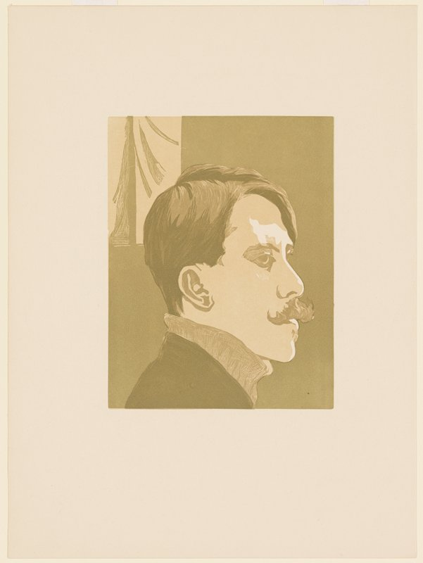 head of a man in profile from PR; man has short hair and thick moustache and wears a turtleneck; printed in green and tan