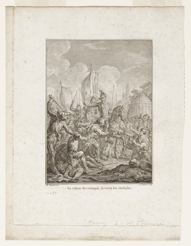 King Henry IV on horseback, PR arm raised to prevent killing of fallen man; surrounded by group of men, some dead and others begging for clemency; soldiers behind