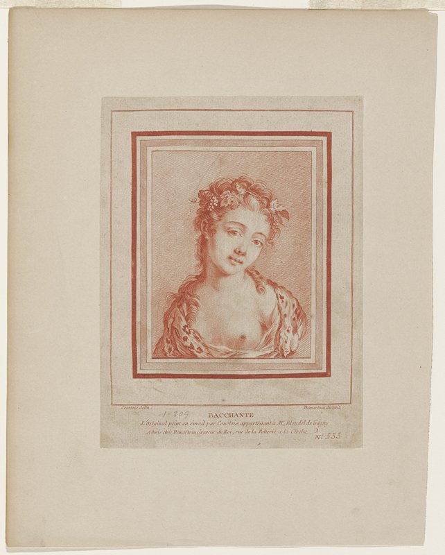 red portrait bust drawing of young woman with grape vines in hair; PL breast exposed;