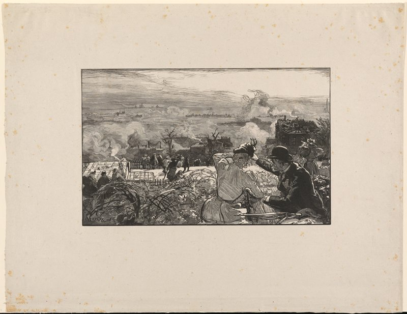 couple at LRC seated at a table looking down into a valley with smoke rising from buildings; other figures in middle ground seen from back also looking into valley