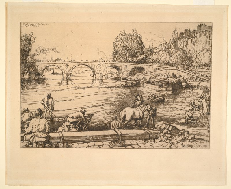bridge with arches at middle; horse and figures at water's edge in foreground; buildings in URC