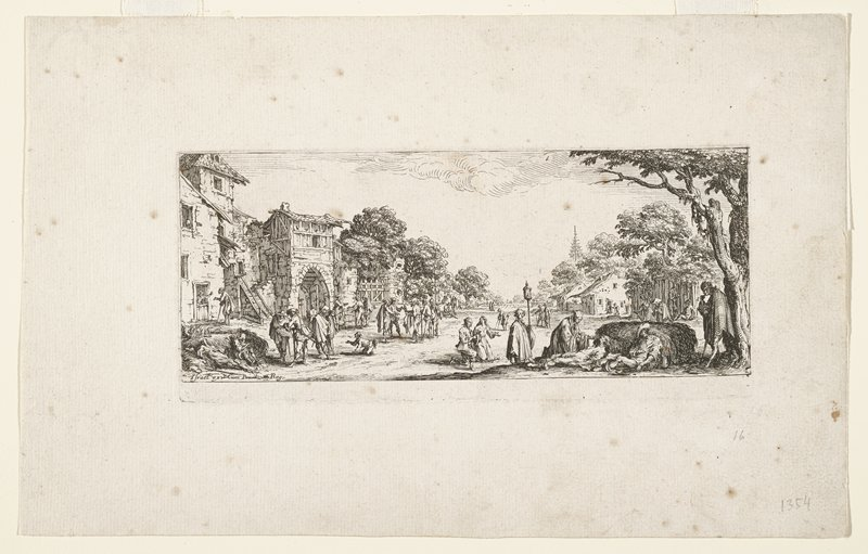 two reclining figures leaning against haystack in LRC, with priest and two kneeling figures; other figures at left; buildings at left in middle ground; tree at right