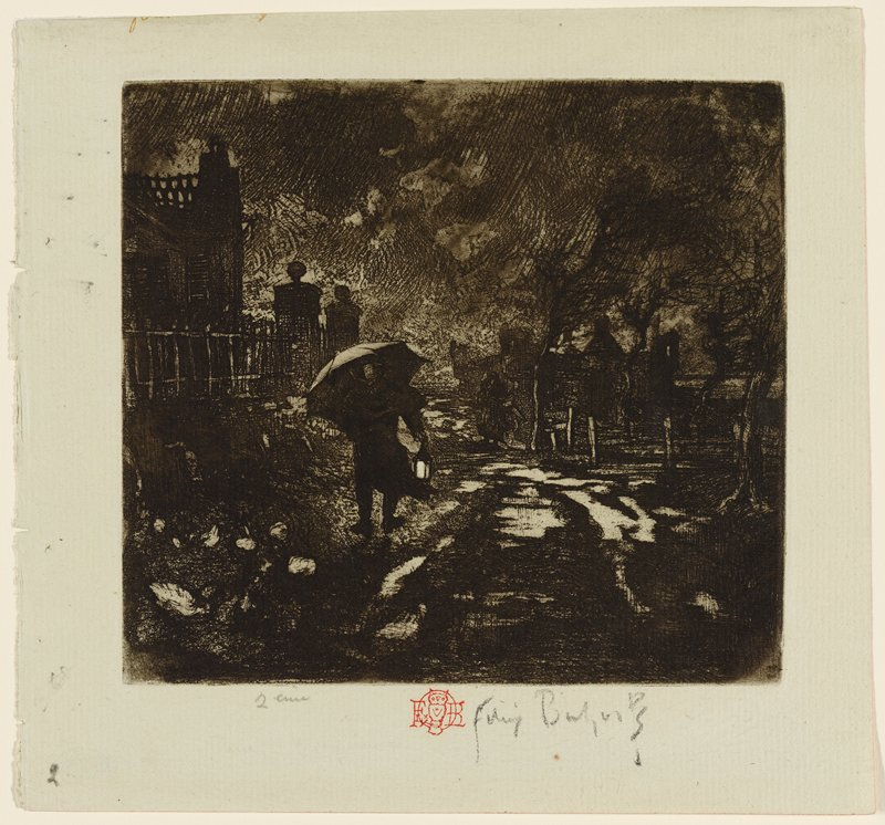 dark night scene with figure walking at left carrying lantern and umbrella; standing puddles on path at center; buildings at left and right; tree at right