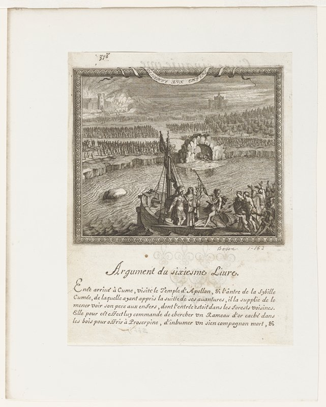 soldier and woman holding branch standing on small ship with male figure holding trident pushing against shore; crowd of people lower right foreground; wall with arched entrance center ground; ranks of people on shore beyond; two castles in distance one right and one left