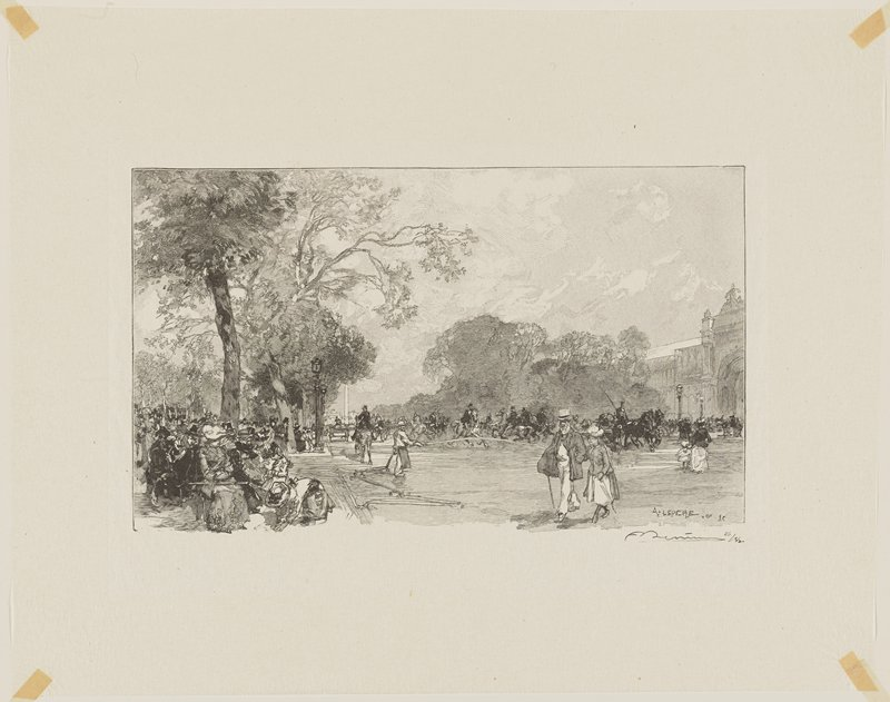 pedestrians, horses and carriages on street; people seated beneath trees at left; building at right