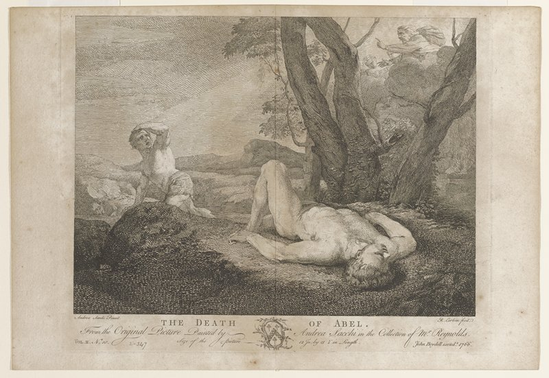 two men; one man in foreground on back on ground; second man semi--reclining leaning on PR hand; left arm to forehead; tree at right; above tree on rocks, a man and two figures overlooking scene; man with PR arm extended and index finger pointing