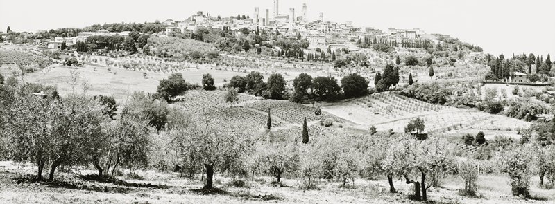 farm fields and orchards; town at center top on top of hill