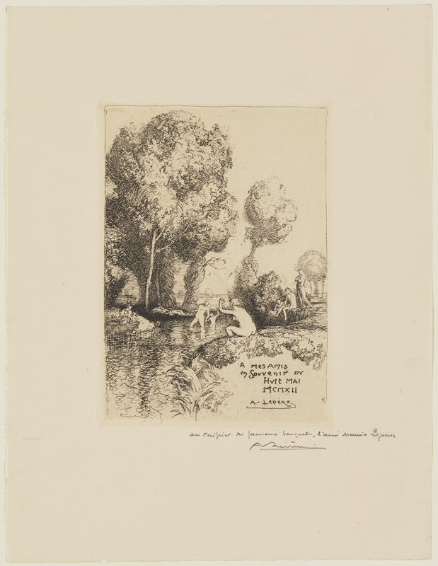 nude bathers in a river; trees; nude woman with her hair in a bun, waving, seen from back, seated on river bank in foreground, right of center; inscription in LRC