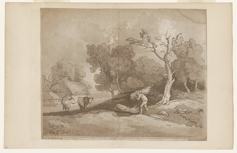 large tree right foreground; man carrying a bundle of sticks(?) with a second bundle at his feet; dog sleeping at right; two cows at left; thatched building left middle ground
