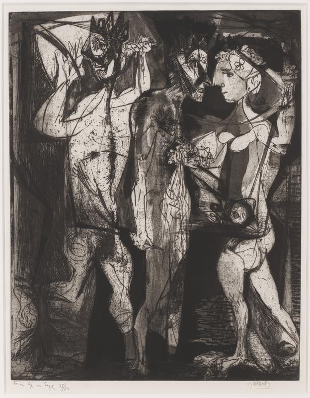 black and white; man and woman face one another on R; man with crown- like headdress on L; wood frame