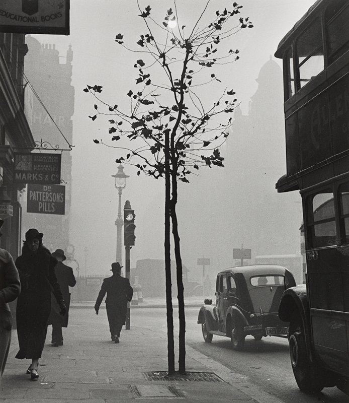 city street; car and double-decker bus at right; small tree at center; four figures walking on sidewalk at left; signs on stores at left; stoplight to left of tree