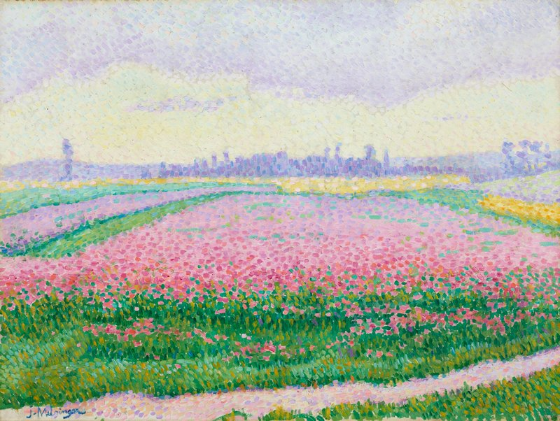 pointillist landscape with fields of predominately pink and some yellow flowers, probably Anemones de Caen; purple elements (Caen skyline) at horizon line