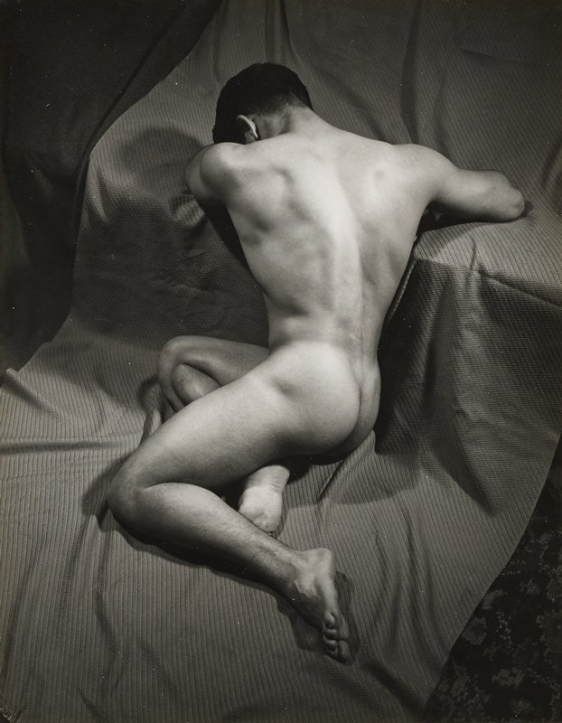 back of male nude, seated with upper body twisted to right; folds on drapery under figure