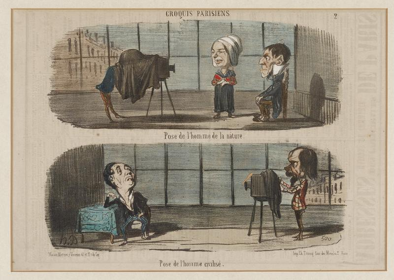 two horizontal images; cartoonish figures with large heads; top image: photographer behind black cloth at left; man wearing a high white collar seated in a chair; woman wearing white cap, red blouse and blue skirt at center; bottom image: seated man with his head held high at left, leaning his PR elbow on a table with a blue tablecloth; photographer at right in plaid coat, adjusting his camera