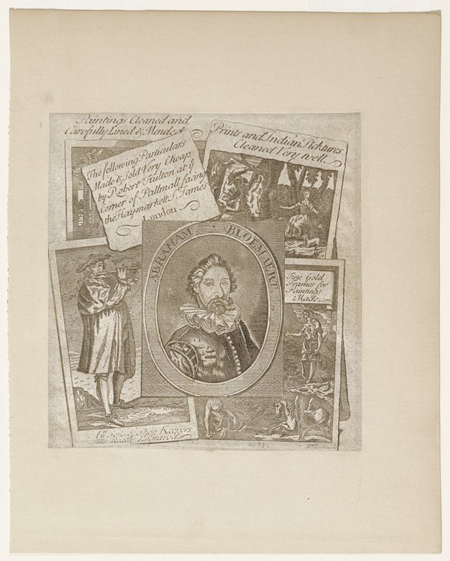trade card/ advertisement for publisher's business interests; center oval portrait of Abraham Bloemart surrounded by particulars of the type of work done by publisher and location
