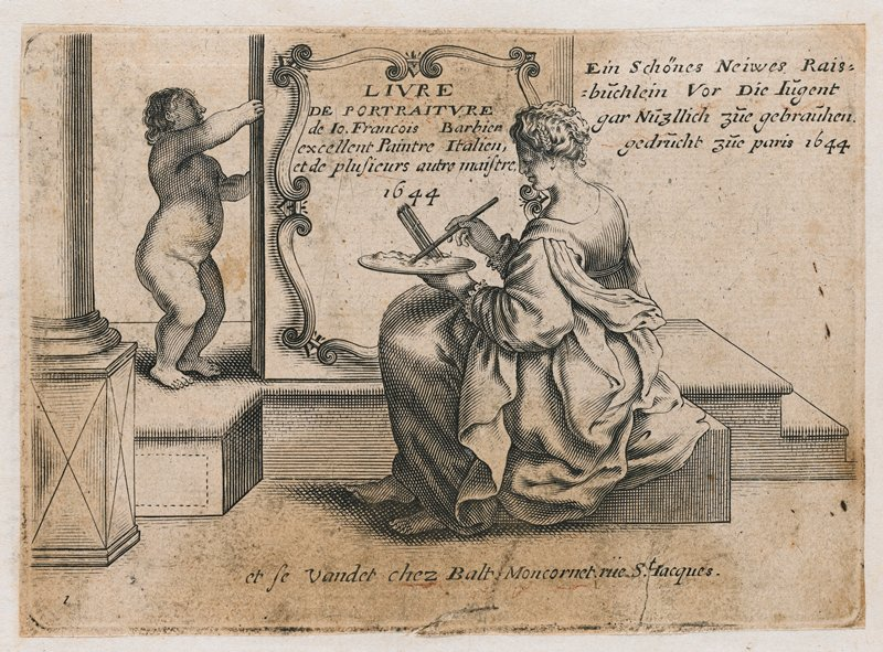 artist's sample booklet with pasted-in plates with images of faces and facial features, figures, feet, hands; first image is seated woman with a palette and brushes, preparing to paint in a cartouche containing the title of the book, held up by a putto; no cover; incomplete