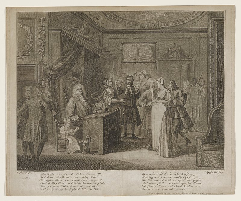 courtroom with justice at desk; pregnant woman with hand raised swearing that child seated in chair next to justice is child of elderly man with hans raised; woman next to man is his unhappy wife