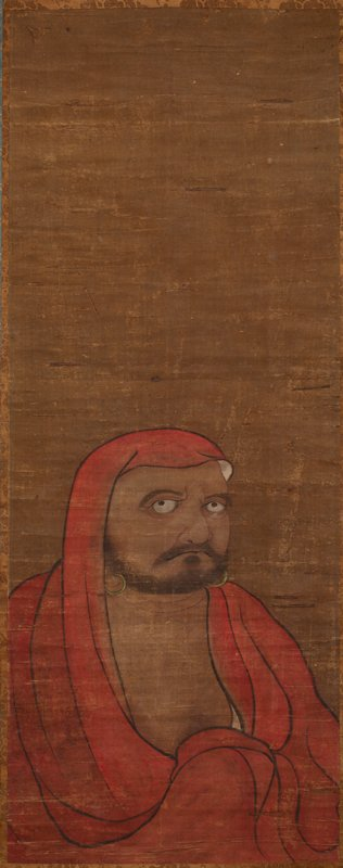 male figure in lower half of image area, wrapped in red cloak that covers his head; large eyes gazing off to PR side; a hoop earring in each ear; closely trimmed beard