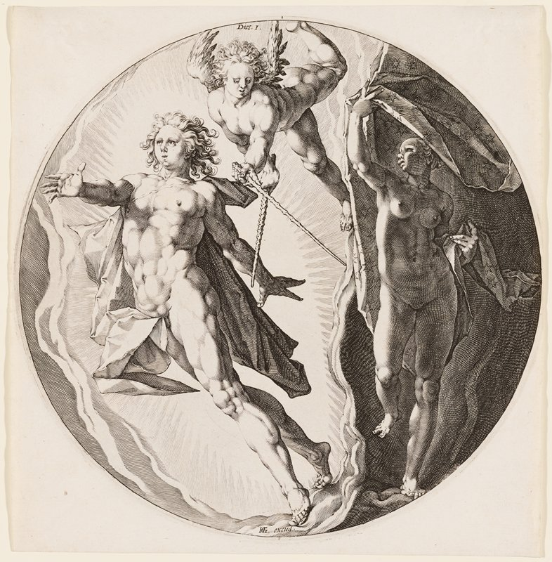 nude male figure with cape on L side; nude female figure in darkness on R; angel top center with two wands