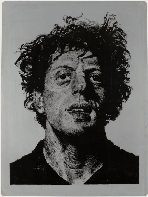 image of a man's head and shoulders made of finger prints in black ink on a grey aluminum plate