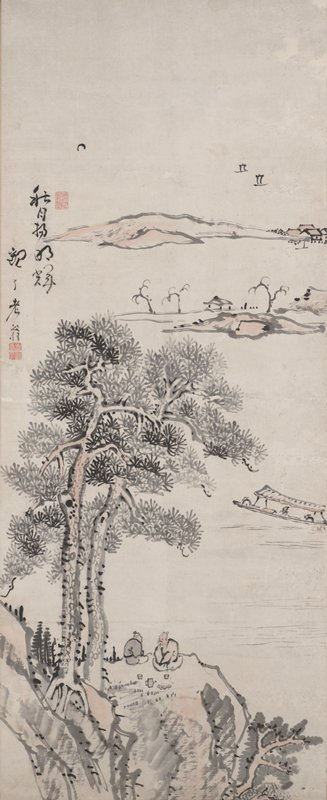 large rock formation with two tall pine trees at lower center with an elderly couple enjoying tea on boulder; in middle ground, three people sit in a long boat with awning; in background, two rock formations, one with a small, open walled structure and three leafless trees, the other with a few buildings at R; two sailboats in distance at UR; inscription at L; small moon at UL; a few details highlighted in pinkish wash