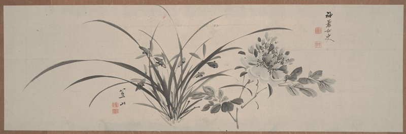 wispy orchids at center with many grass like fronds; peony with foliage at R. Unmounted