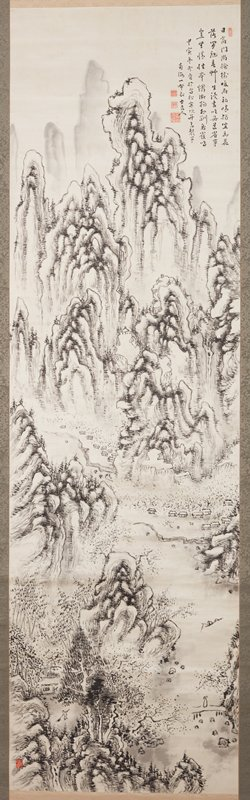 irregular, rounded mountains; small pavilion at center; small waterfall at R; two groups of huts in middle ground at base of mountains; two figures fishing in boat at LR; figure crossing a bridge LRC; figure raking small piece of land near hut LLC