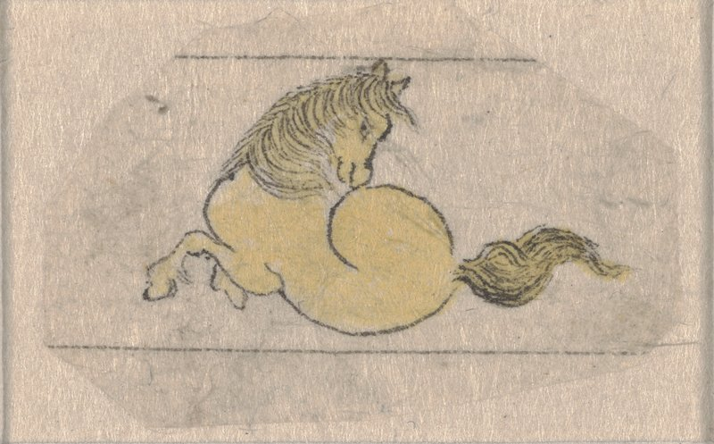 tiny image of a reclining yellow horse; horse's side is facing viewer, its head is turned towards hind quarters in profile; thin black outline and detail; horse is poised between two horizontal lines; adhered to small sheet of paper