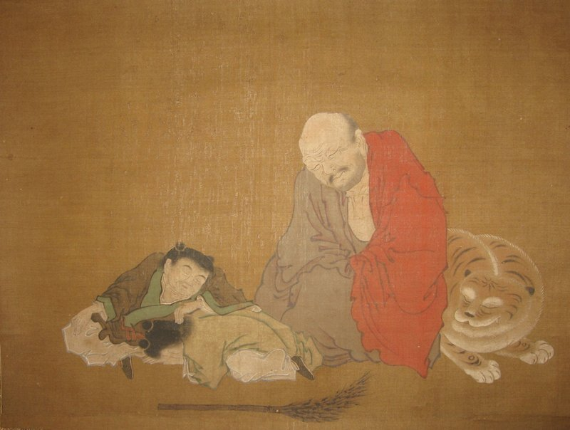 three sleeping figures and one sleeping tiger; two boys at left--one crouching face down in front, one slumped over crouching figure; seated man at right wearing grey and red, leaning against tiger; broom in foreground; ivory roller ends