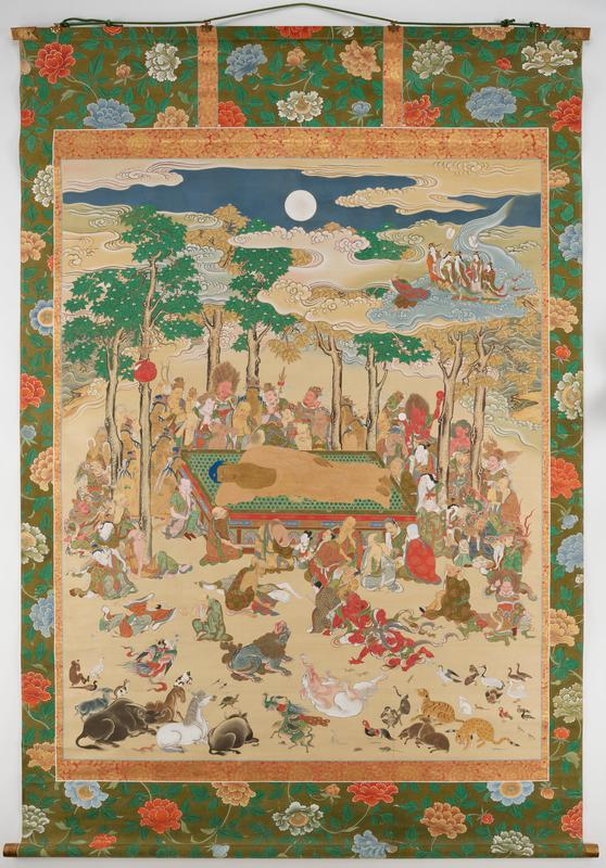 Buddha reposed at center on dias surrounded by many crying figures; animals in foreground; trees surrounding dias with full moon at top center; part of mount painted with large flowers