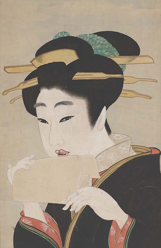 3/4 bust of woman holding blotting paper to lips; black kimono with red cuffs and yellow and green trim; white collar with white flowers; eyes cast down; green tie in hair with yellow ornaments