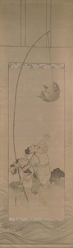 two men at lower center have just caught a large fish: older man at L holds long bamboo fishing pole that extends along L side of scroll and out of frame; younger man at PL extends chubby arms above his head to catch the fish still hanging from the fishing line at UR; scroll has tromp l'oeil border and mount with wave motif along bottom