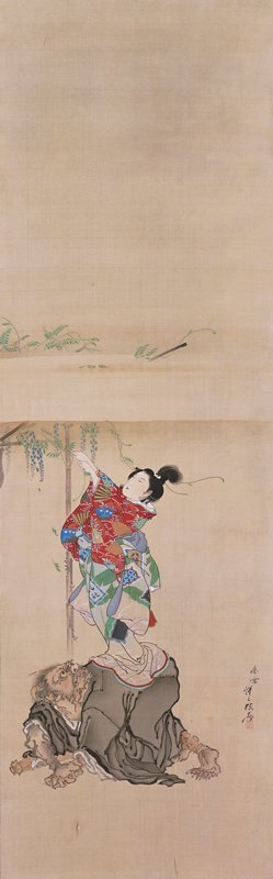 woman in multi-colored kimono standing on back of demon figure who is on all fours; the woman is reaching up into a tree